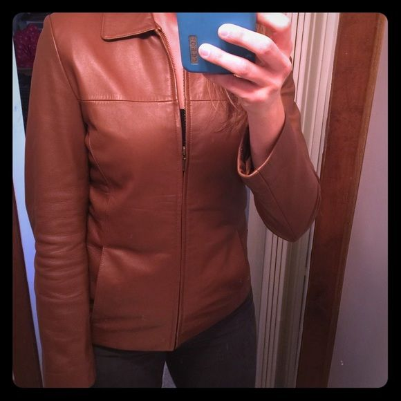 Tan leather jacket Tan leather jacket. Excellent condition. Fully lined. Looks great with jeans and boots! Wilsons Leather Jackets & Coats Blazers