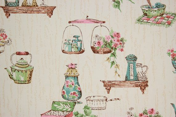 1950's Vintage Wallpaper Pink and Blue Kitchen by RosiesWallpaper