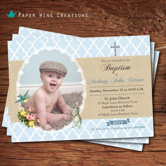 Boy baptism invitation. Cross Christening by ThePaperWingCreation, $12.00