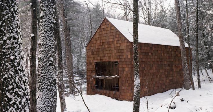 shingled cabin in the Catskills, NY