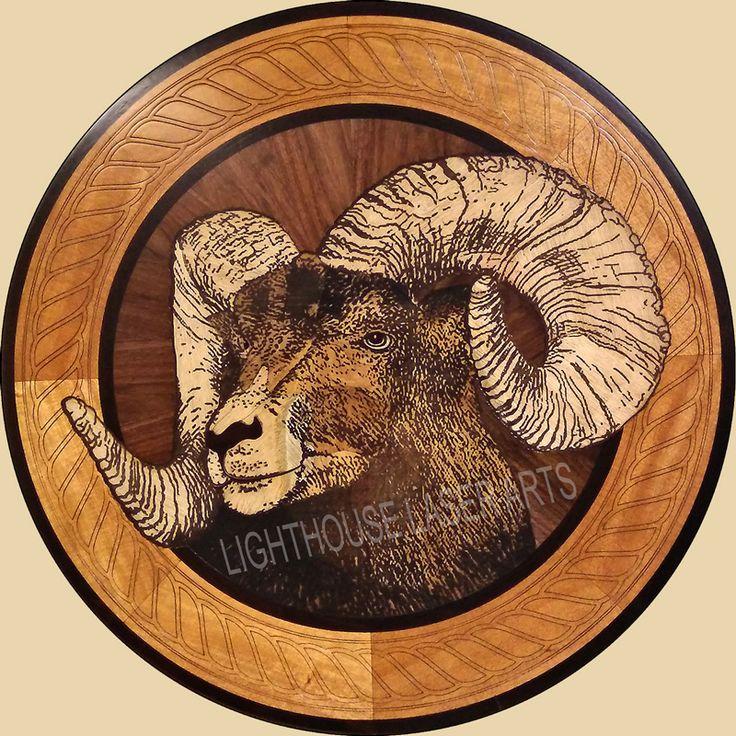 Big Horn Sheep Wood Inlay Design. Great Wood Floor Inlaid Medallion Or Wall  Art!