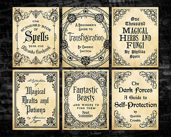 Harry Potter Book Cover Printables : Harry potter magical textbook covers quot printable