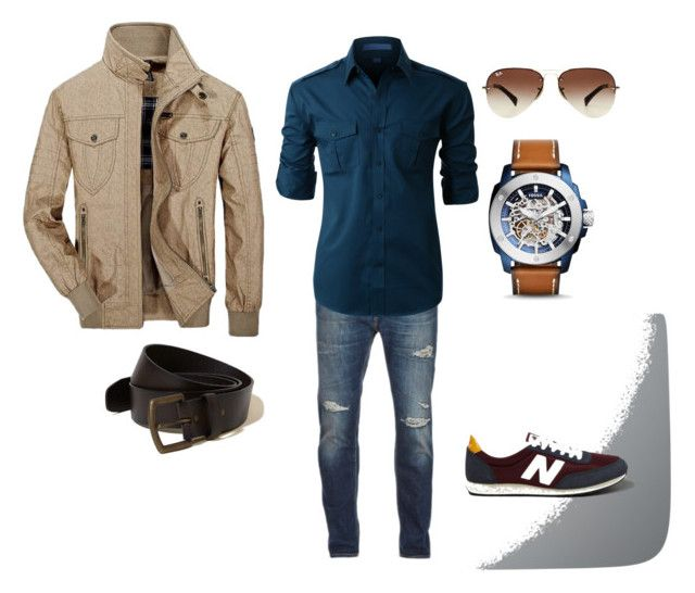 """""""Untitled #8"""" by nina-yancey on Polyvore featuring Nudie Jeans Co., LE3NO, Abercrombie & Fitch, Jeep Rich, FOSSIL, Ray-Ban, Hollister Co., men's fashion and menswear"""