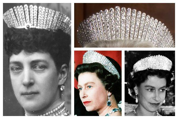 The Queen Alexandra Kokoshnik Tiara. This platinum and diamond kokoshnik tiara was given to Queen Alexandra as a 25th wedding anniversary present by Lady Salisbury on behalf of a group of 365 of the wives of the peers of the realm in 1888. The tiara was made by Garrard; Alexandra requested the kokoshnik style after admiring a tiara belonging to her sister, Empress Maria Feodorovna of Russia. The tiara is worn today by Queen Elizabeth.