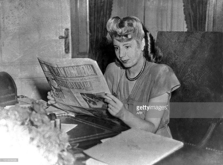 File picture taken in 1947 showing Eva Peron reading a newspaper. Eva Peron, known as Evita (1919-1952), the second wife of Argentine President Juan Peron, was a radio and screen actress before her marriage in 1945. She became a powerful political influence and a mainstay of the Peron government. She was idolized by the poor, and after her death, in Buenos Aires, support for her husband waned.