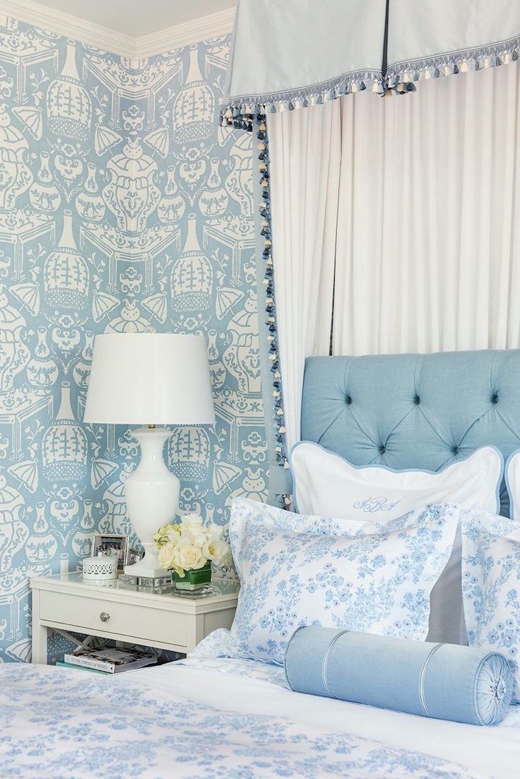 The Dreamiest Bedrooms and Where I Go For My Bed Linens - laurel home - please check out Biscuit home. Love this charming blue and white bedroom