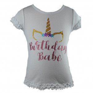 Reflectionz Little Girls White Birthday Babe Unicorn Glitter Shirt 2-6