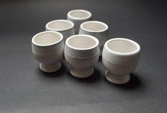 Vintage footed egg cup set of 6 Savoy series Hoganas Keramik