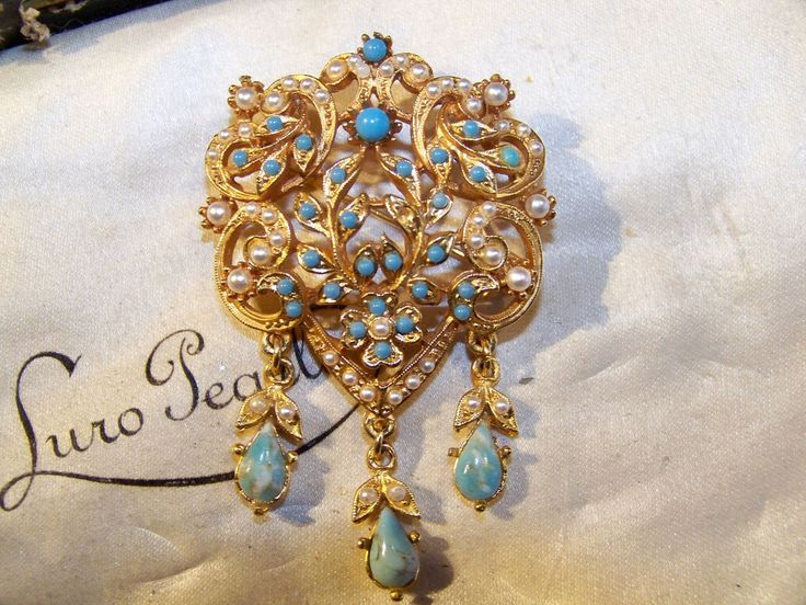 VINTAGE VICTORIAN JEWELLERY ELABORATE SEED PEARL & TURQUOISE DROPPER BROOCH PIN