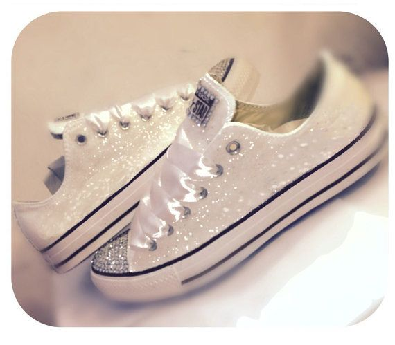 Womenu0027s Converse All Star Sparkly WHITE Chucks Glitter SWAROVSKI CRYSTALS  Chucks Sneakers Shoes Wedding Bride I Do Personalized Bridal Flats