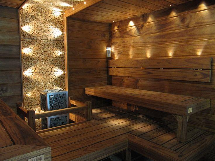 great illumination in this sturdy sauna