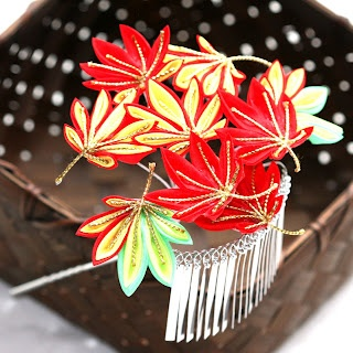 fall leaves kanzashi