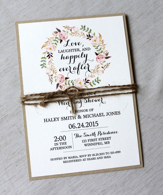 Rustic Bridal Shower Invitations Floral Bridal Shower