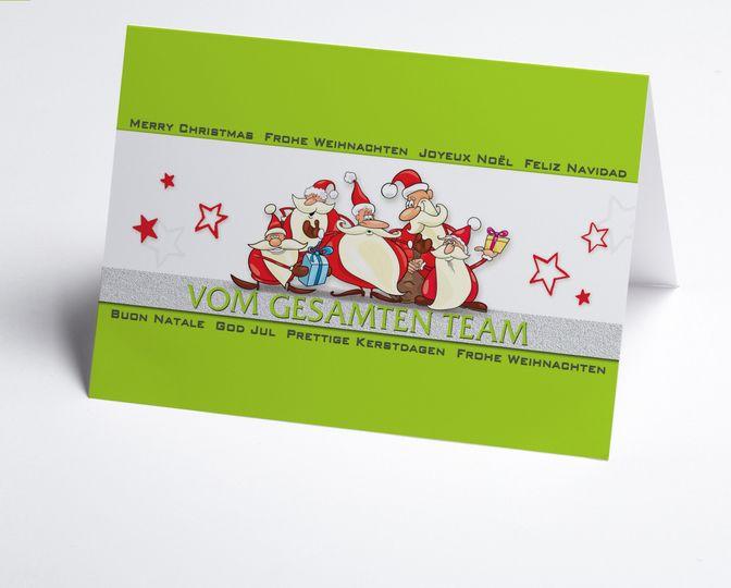 Team-Weihnachtskarte in trendigem Grün mit Nikolaus http://www.weihnachtskarten-plus.de/weihnachtskarten/teamwork-weihnachtskarte/1013-artnr-150332-a-gruene-teamkarte.html
