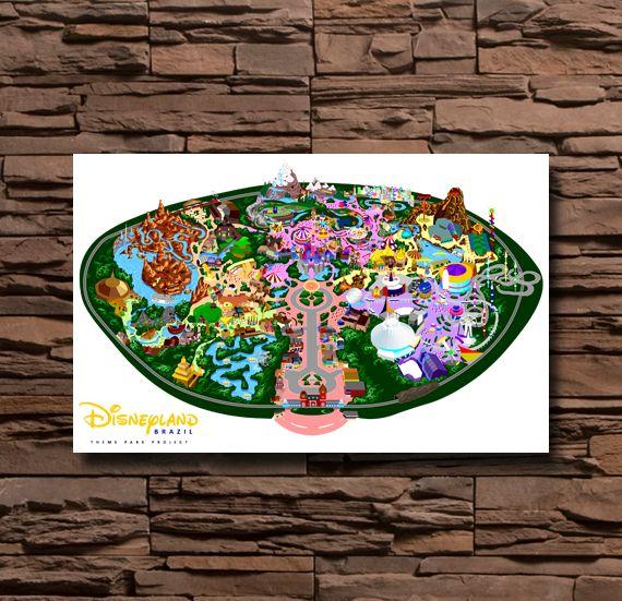 Best Disney Park Posters Images On Pinterest - Disneyland brazil map