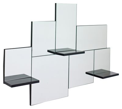 This random arrangement of rectangular mirrors featuring three mirrored glass shelves provides ample mirror-space plus room to place anything from keys or make up to a cup of tea.