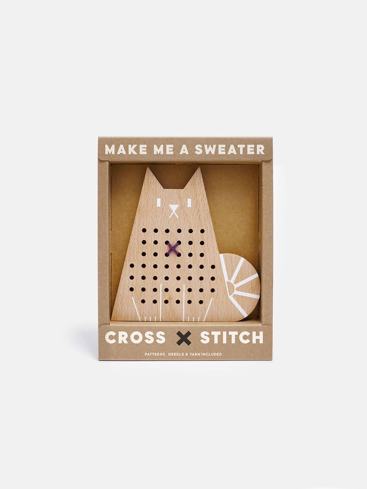 Cross Stitch Cat wooden toy