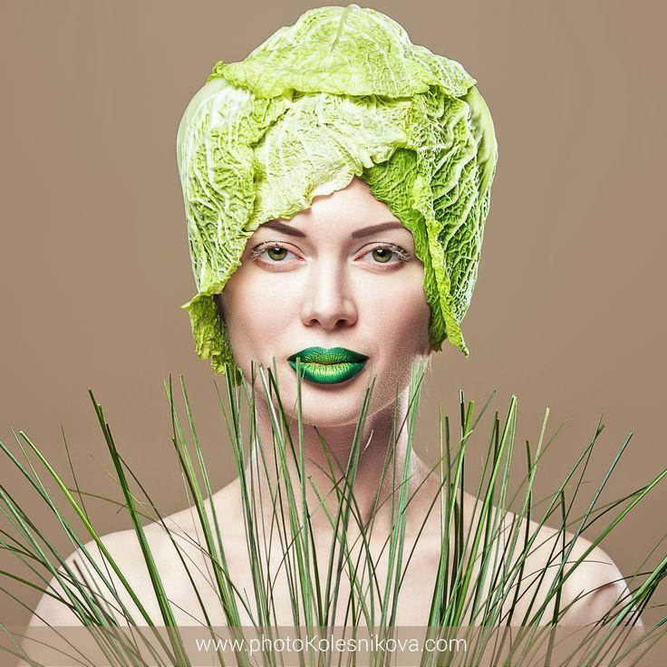 бьюти beauty creative makeup визаж зеленый макияж зеленые губы капуста офощи