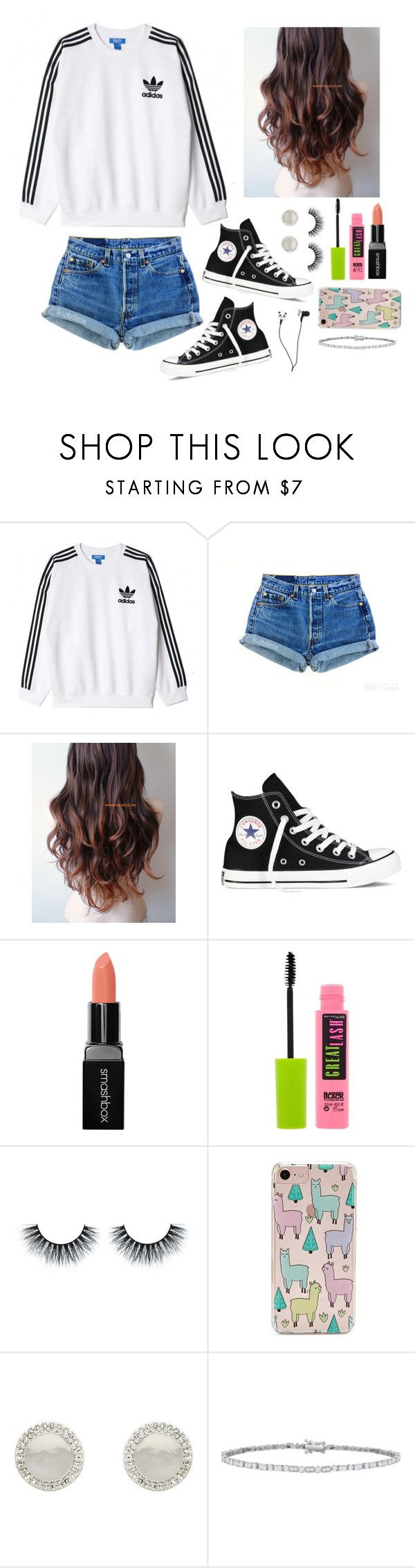 """""""Totally not procrastinating right now instead of working on my project..."""" by gussied-up ❤ liked on Polyvore featuring adidas Originals, Levi's, Converse, Smashbox, Maybelline, Forever 21 and Melissa Odabash"""