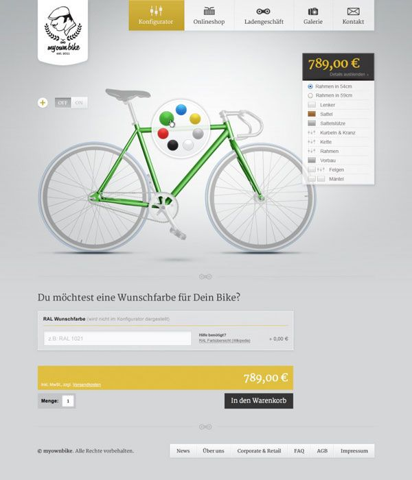 My Own Bike Configuration - Web and User Interface Design by DieTaikonauten
