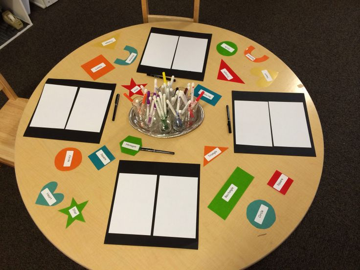 Reggio inspired. Shapes and writing provocation.