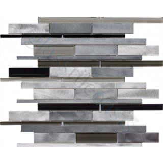 Onyx Stainless Steel Random Bricks Glass and Metal Glossy & Brushed Tile