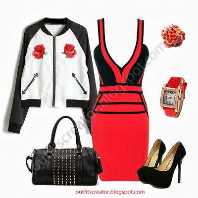 red rose dress jacket black pumps tattoo