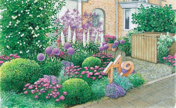 Ein städtisch gelegener Vorgarten eines Reihenhauses soll neu gestaltet werden. Wir präsentieren zwei Gestaltungsideen hierfür.  (Pflanzplan als PDF zum Herunterladen und Ausdrucken)