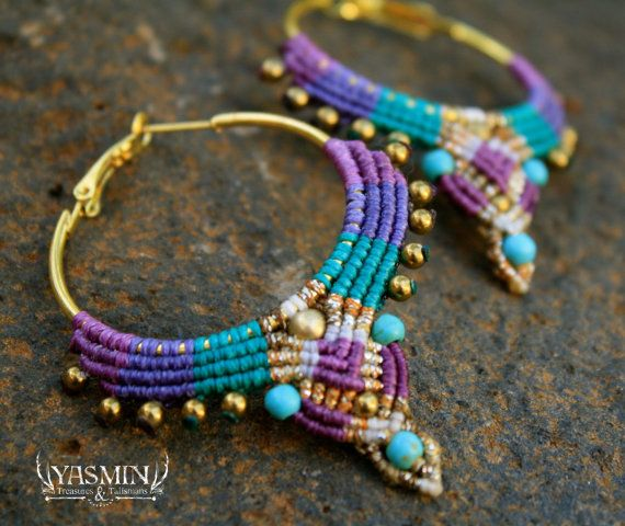 hand woven with love by me using superior quality italian waxed cord. made with howlite turquoise, and hematite beads. hoops are gold plated.
