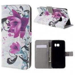 Samsung Galaxy S7 violetit kukat puhelinlompakko.