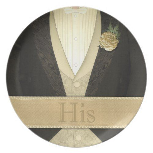 Bride and Groom His & Hers (ivory) Wedding Dinner Plate