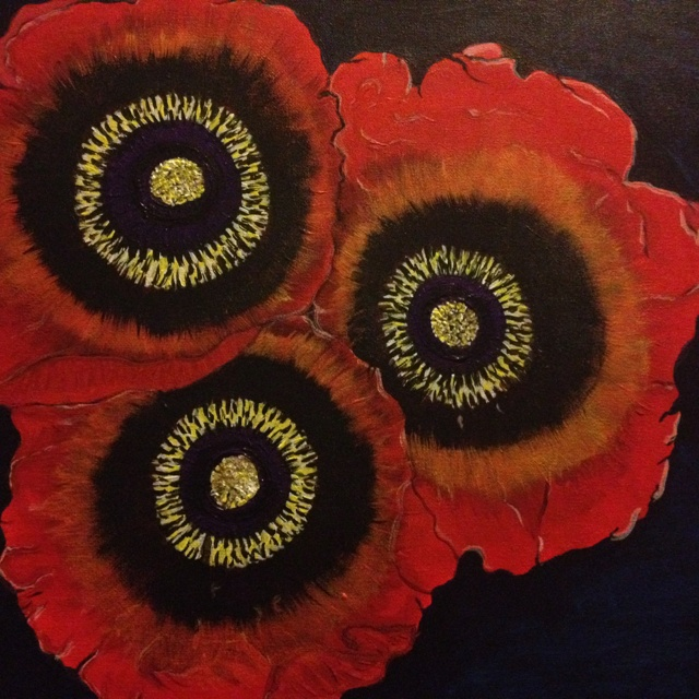 finished painting :-) by Emma  dancingqueen1976@live.co.uk: Art Inspiration, Red Poppies, Poppies Mi Pretty, Emmajlock Paintings, Apartment Ideas, Paintings Emmajlock, Poppies Art, Bright Red, Full Bloom