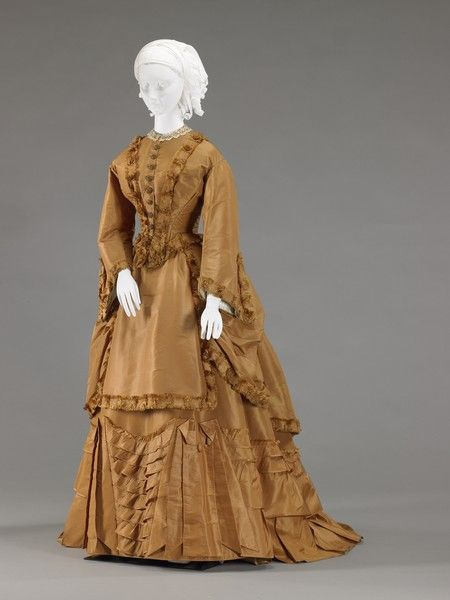 Alice Morrison wore this dress on May 11, 1871, when she was married at her parents' home, located at the southwest corner of Tennessee and Vermont Streets in Indianapolis. The style of the skirt is typical of the late 1860s and early 1870s, when the fullness was gathered up in the back and a bustle was worn to support accentuated draping on the hips. In the 1800s, it was common for brides to wear colorful dresses on their wedding day.