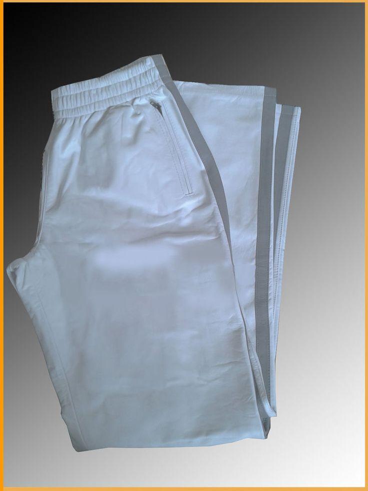 Lederhose 28 30 31 32 33 34 36 38 40 42 44 weß grau, Jogginghose Männer Leder,    Sexy grey leather jogging pants tracksuit bottoms