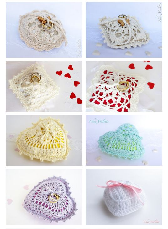 Lace crochet ring bearer wedding pillow by Chez Violette - http://chezviolette.etsy.com