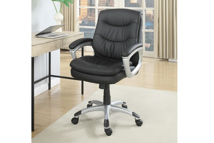 Office ChairF1612 Sit in an office chair with plush seating and back support in black faux leather with a silver accents. Office Chair Sale for $80
