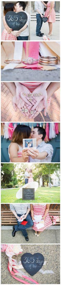 Super Sweet Wedding Anniversary Photo Ideas: http://www.confettidaydreams.com/cute-first-wedding-anniversary-photo-ideas/