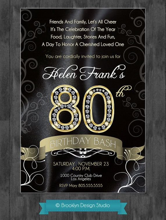 80th Birthday Bash - Custom Designed Invitation - Black Satin and Gold with Diamond Numbers- Digital File