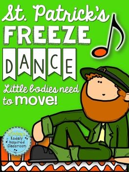 St. Patrick's Day Freeze Dance: Need a fun movement activity to fill a few minutes of music or PE around St. Patrick's Day? Classroom teachers, are you looking for a fun brain break to get your kids up and moving? Try this Freeze Dance! Turn on some fun music, and each time you hit pause show a different picture (print or project onto your board). Students will love posing like leprechauns and fun St. Patrick's themed kids. #musiceducation #musedchat #orff #elemused