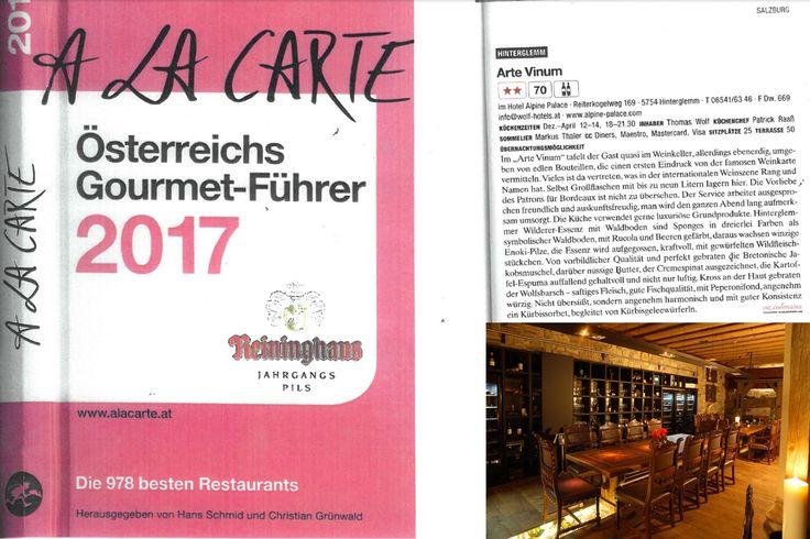 A la carte - Österreichs Restaurantführer 2017 bewertet das Arte Vinum