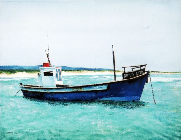 Chukkie in Struisbaai, Cape, South Africa. Oil on canvas by E.Hurni