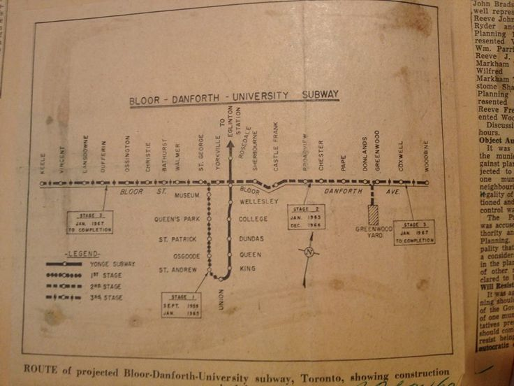 #Transit is a key issue for not only Toronto but anyone who lives in the GTA. For #ThrowBackThursday we share with you the projected route of the Bloor-Danforth-University circa 1960. #TTC notice the station named Vincent.
