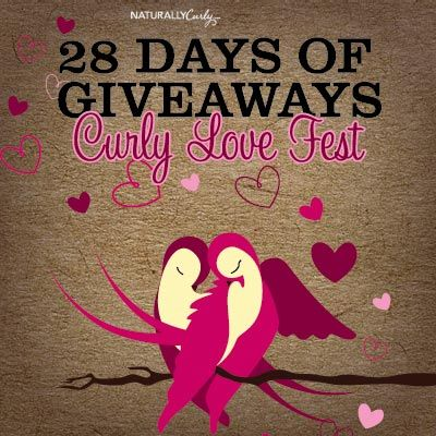 I just entered NaturallyCurly's 28 Day Love Fest Giveaway  to win some amazing curly hair prizes on NaturallyCurly.com! You should enter too. It's easy, click here: http://www.naturallycurly.com/giveaways/NaturallyCurly-28-Day-Love-Fest-Giveaway/st/54ce47d7b7cfd5.95687479
