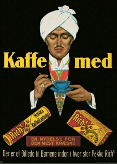 Danish poster: Coffee with Rich's, 1925. Rich's is the name of a Danish coffee substitute brand and produced by CF Rich & Sons. The brand was especially used during food shortages under the German occupation of Denmark in World War II. In each Rich's box lay pictures with beautiful scenes that customers' children could collect.