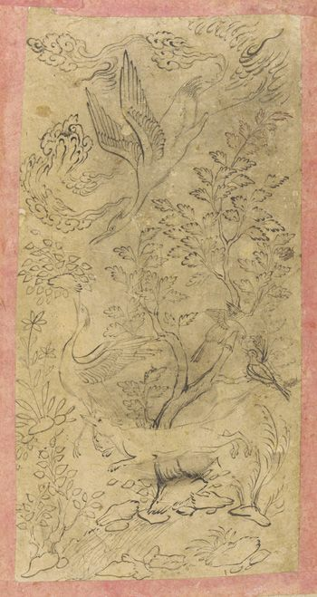 Fox hunting cranes in landscape 1630s-1640s Safavid period  Ink on paper H: 18.8 W: 9.4 cm  Isfahan, Iran  Purchase F1953.36  Freer-Sackler | The Smithsonian's Museums of Asian Art