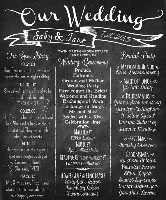 printed wedding program