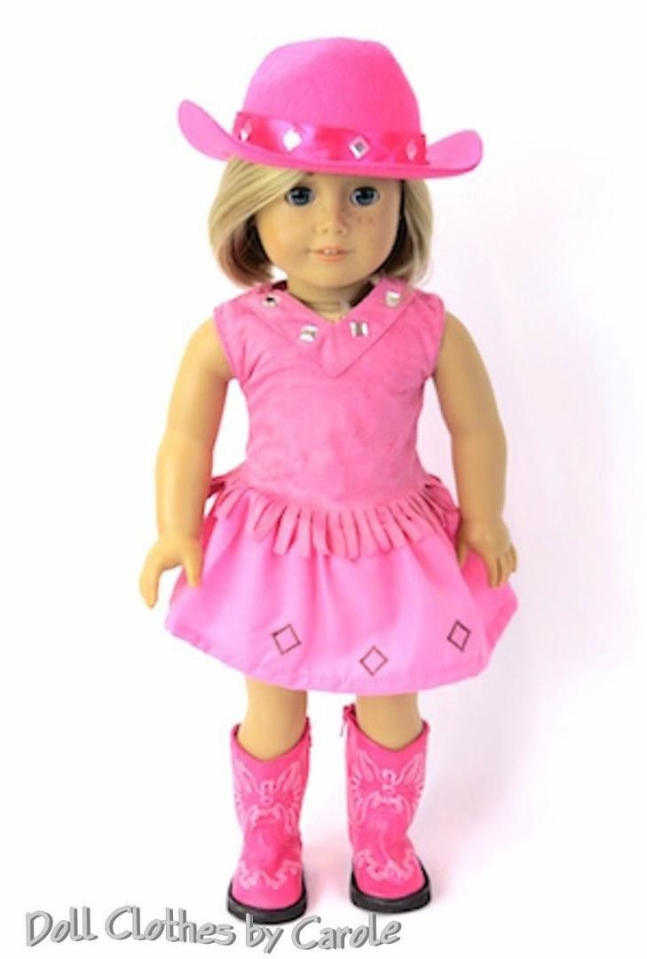 """Doll Clothes 18/"""" Western Cowgirl Hat Purple Boots Fringe Made To Fit AG Dolls"""