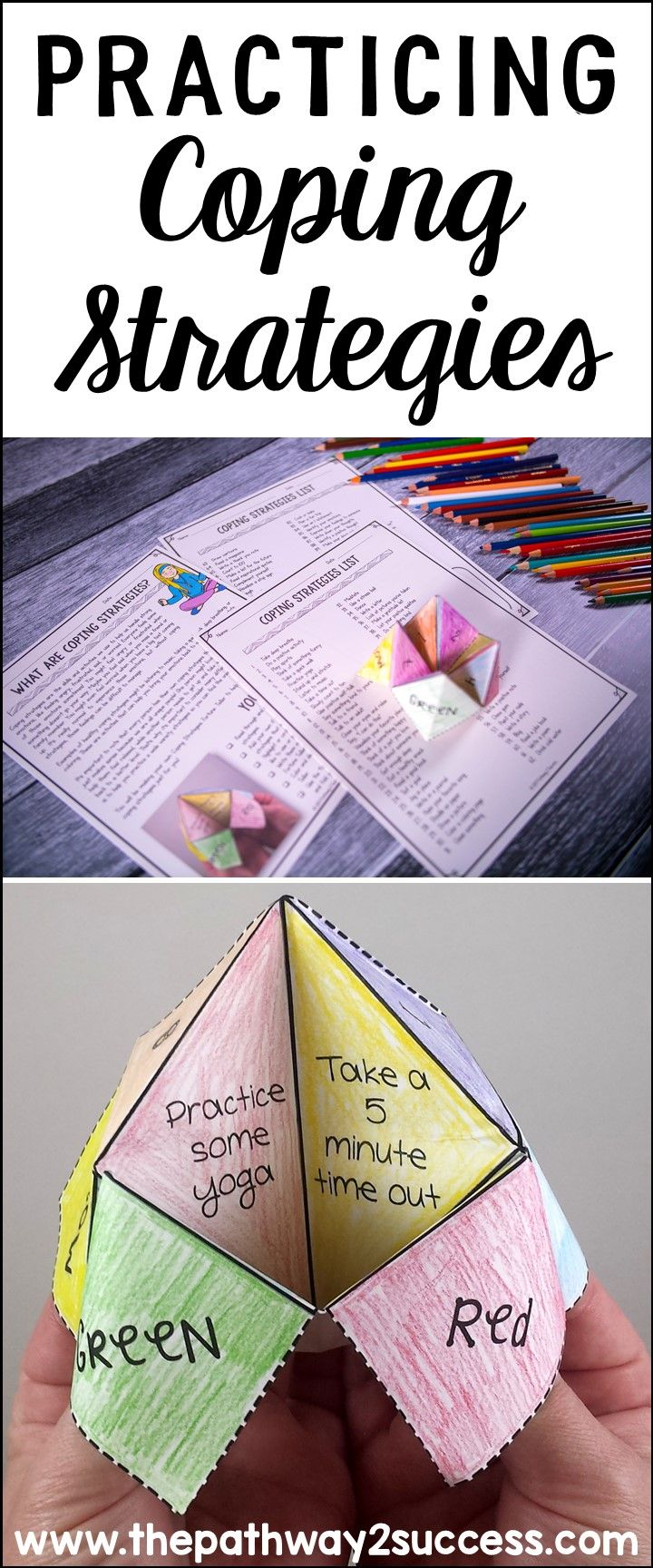 How to practice coping strategies with a craft and art activity. Great activity for kids and young adults who need support for managing emotions. #pathway2success #copingstrategies #specialeducation