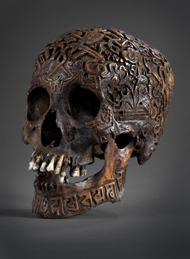 Antique carved Tibetan skull