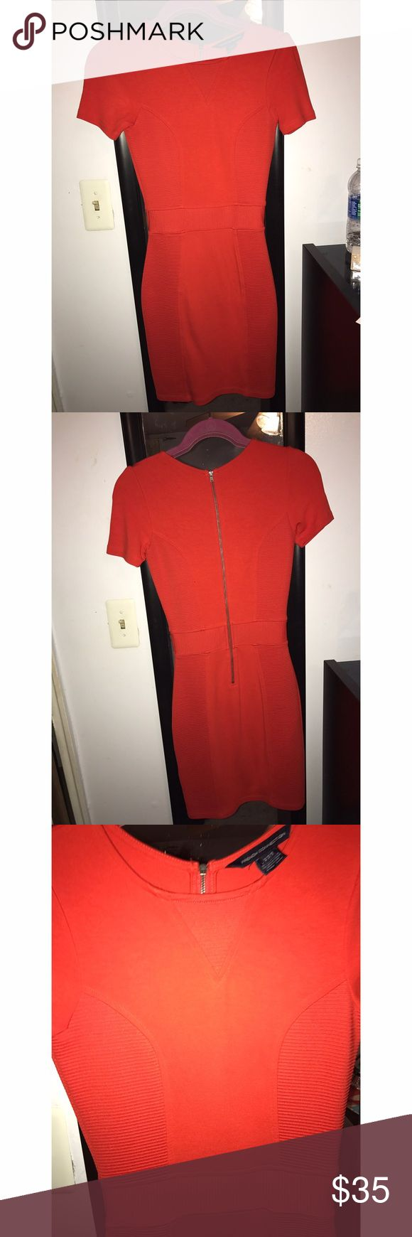 Red French Connection Bodycon Dress Red French Connection Bodycon Dress with ribbed sides. Worn twice, beautiful color. French Connection Dresses Mini